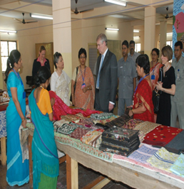 HRH taking a round of Nijoloy's vocational activities